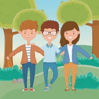 Ragazza e ragazzi amicizia design
