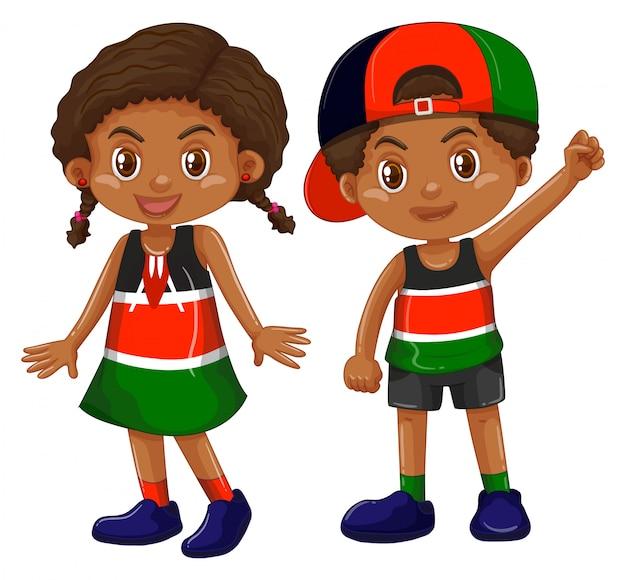 Ragazza e ragazzo dal kenya