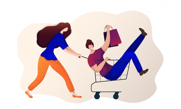 Ragazza e ragazzo facendo shopping. donna con carrello