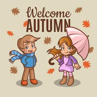 Ragazza e ragazzo in autunno con foglie che cadono