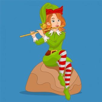 Ragazza elfo che suona il flauto