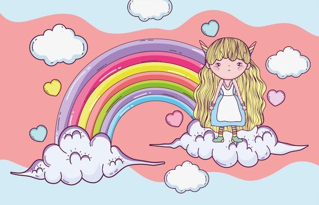 Ragazza fantastica creatrice tra le nuvole con arcobaleno