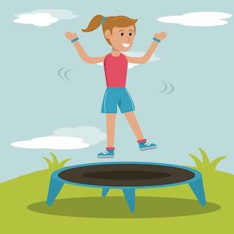 Ragazza felice che salta la progettazione di sport del trampolino
