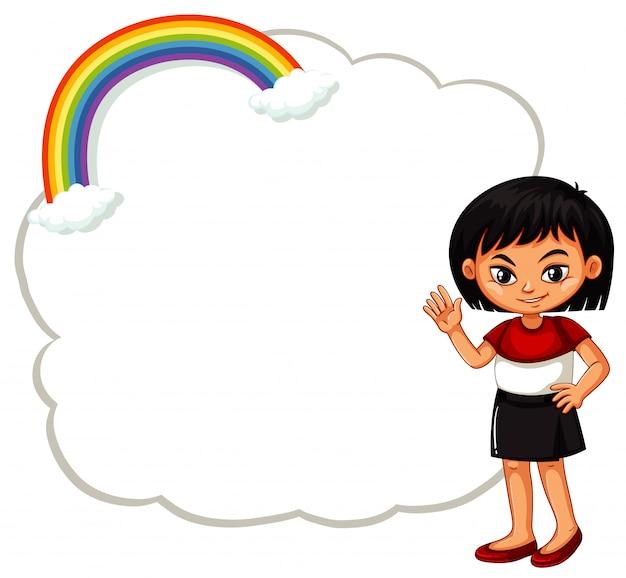 Ragazza felice con segno nuvola