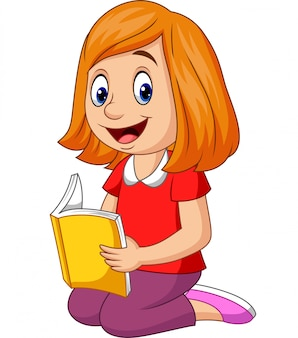 Ragazza felice del fumetto che legge un libro