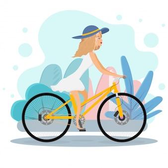 Ragazza felice in sella a una bicicletta. illustrazione