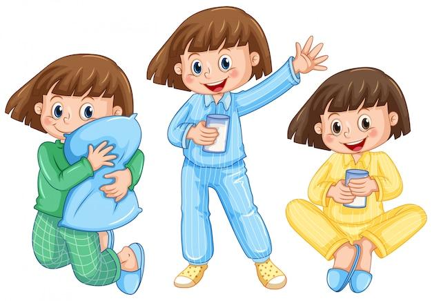 Ragazza felice su diversi pigiami