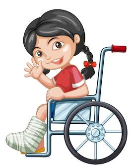 Ragazza ferita su sedia a rotelle