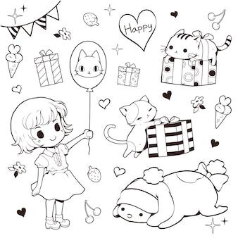 Ragazza, gatti e presente insieme di doodle