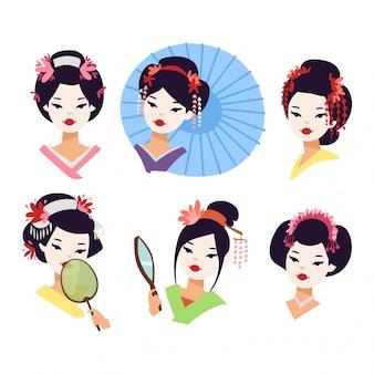 Ragazza geisha giapponese