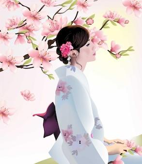 Ragazza giapponese sulla priorità bassa del fiore di ciliegia
