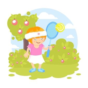 Ragazza, giocare a tennis