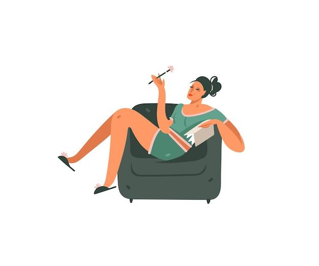 Ragazza grafica moderna del fumetto astratto disegnato a mano che si siede in un'arte dell'illustrazione della sedia su fondo bianco.