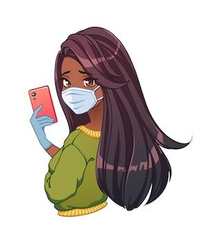 Ragazza graziosa del fumetto con la pelle abbronzata e lunghi capelli neri che prendono selfie