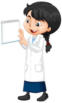 Ragazza in abito di scienza su bianco
