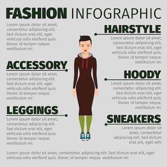 Ragazza in abito lungo moda infografica