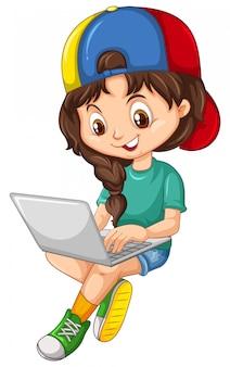 Ragazza in camicia verde facendo uso del personaggio dei cartoni animati del computer portatile su fondo bianco