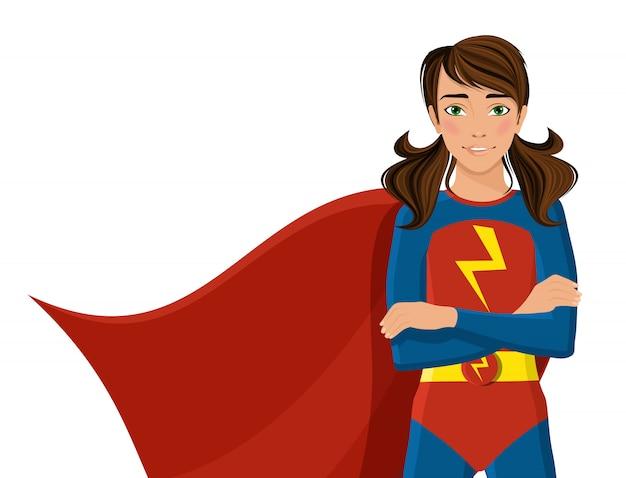 Ragazza in costume da supereroe