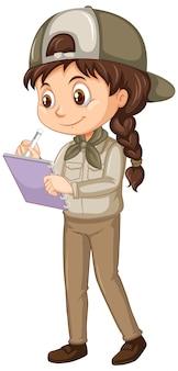 Ragazza in uniforme di safari sull'isolato su