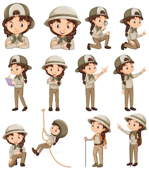 Ragazza in uniforme safari facendo diverse attività