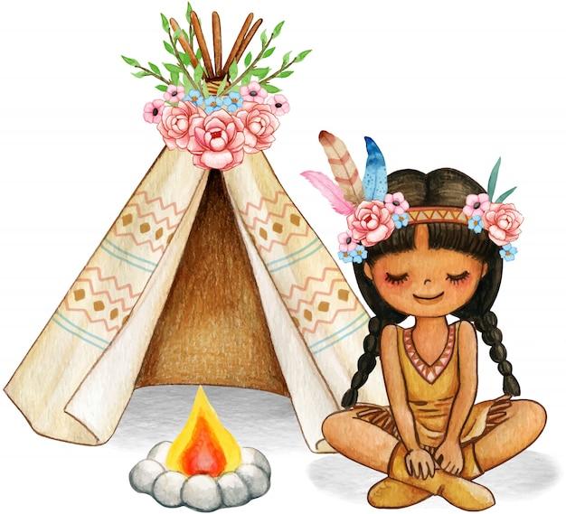 Ragazza indiana carina boho dell'acquerello con fiori, piume e tenda decorata