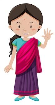 Ragazza indiana con saluto faccia felice