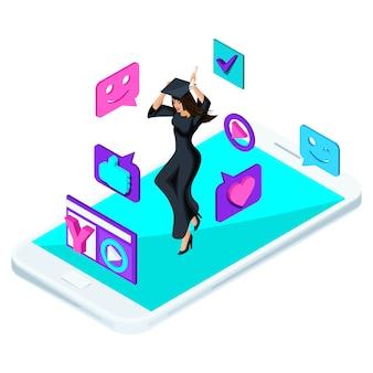 Ragazza laureata, il salto è felice, abiti accademici, diploma, mantello, blog, video, emoticon, mi piace, smartphone