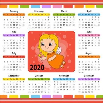 Ragazza leggiadramente in un vestito con le ali e una bacchetta magica. calendario per il 2020 con un personaggio carino.