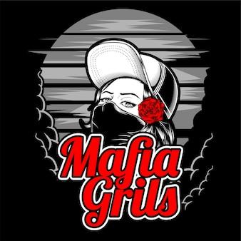Ragazza mafiosa che indossa cappello e rosa