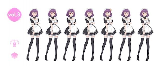 Ragazza manga anime. costume da cameriera