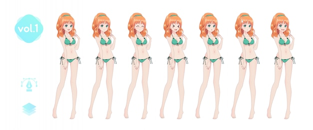 Ragazza manga anime. in costume da bagno bikini estivo