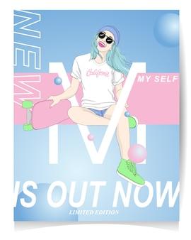 Ragazza moderna con illustrazione skate e testo nuovo è ora fuori edizione limitata