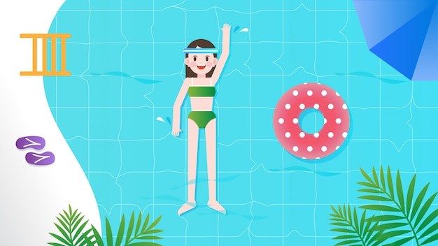 Ragazza nuota in piscina