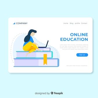 Ragazza piana della pagina di atterraggio di istruzione online che per mezzo del computer portatile