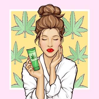 Ragazza pop art con tubo cosmetico di cannabis