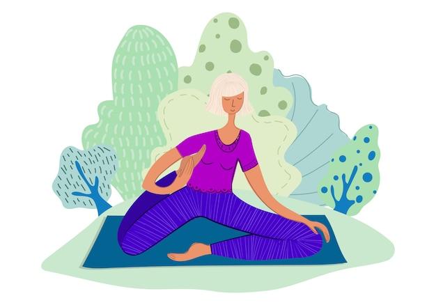 Ragazza pratica yoga nel parco
