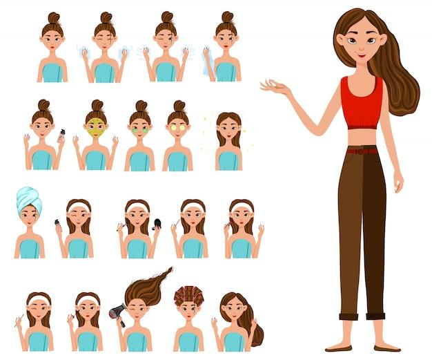 Ragazza prima e dopo le procedure cosmetiche. stile cartone animato. illustrazione.