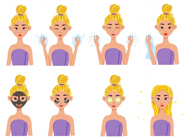 Ragazza prima e dopo le procedure cosmetiche.