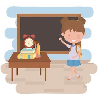Ragazza ragazzina di design scolastico
