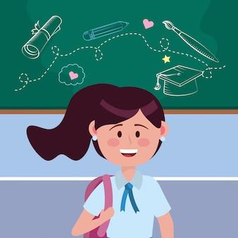 Ragazza ragazzina di scuola
