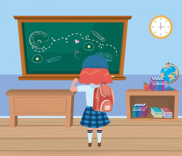 Ragazza ragazzino a scuola