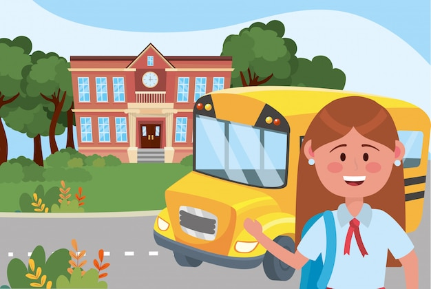 Ragazza ragazzino e scuola di autobus