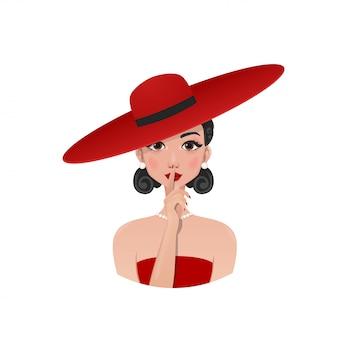 Ragazza retrò in un cappello rosso e vestito