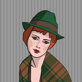 Ragazza rossa in cappello verde