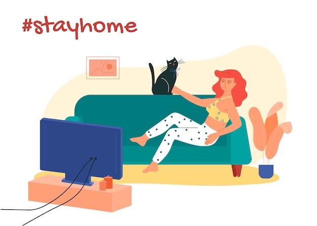 Ragazza sdraiata sul divano con il suo gatto e guardare film. resta a casa illustrazione di hashtag.