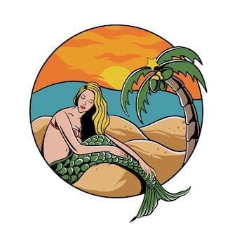 Ragazza sirena in spiaggia con la palma e il tramonto