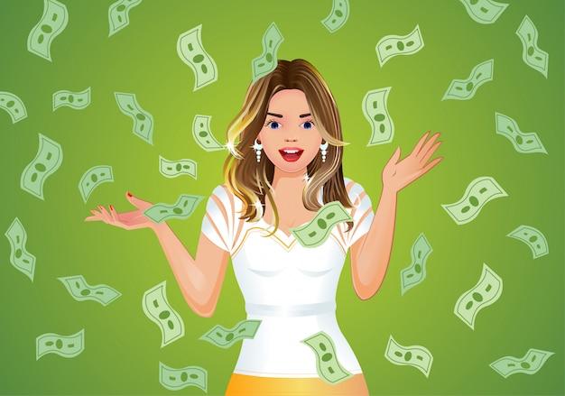 Ragazza sorpresa con soldi che cadono sfondo, jackpot.