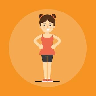 Ragazza sorridente di forma fisica che fa esercizio