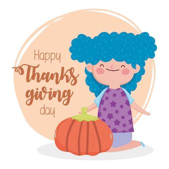 Ragazza sorridente felice di giorno di ringraziamento con la zucca
