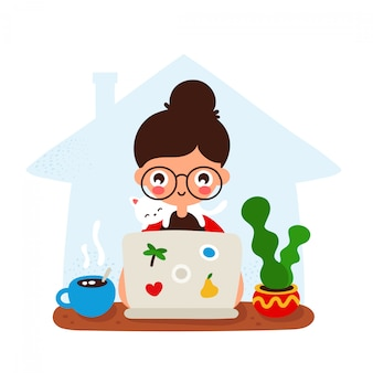 Ragazza sorridente felice sveglia ad uno scrittorio con il computer portatile e il gatto. disegno dell'icona di stile piano di disegno a mano. isolato. lavoro, concetto teeching a casa